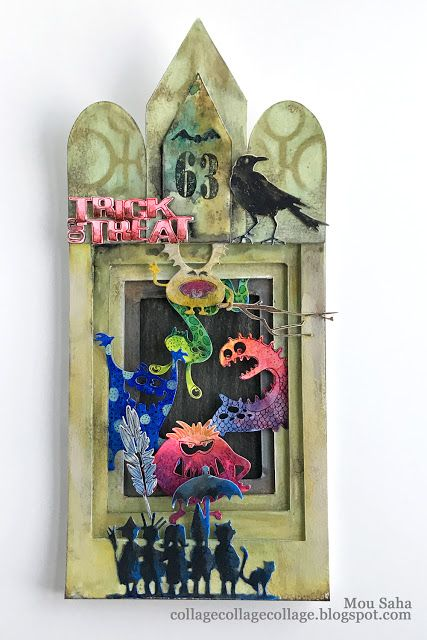 A Halloween Monster House Diorama created by Mou Saha with Tim Holtz Halloween dies for Sizzix