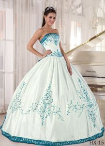 White and Teal Strapless Dress for Quinceanera in Floor-length with Appliques
