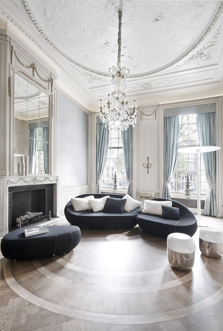 The Flirtstones sofa and THX lamp in the Luxurious reception rooms for REPLAY office and showrooms, Herengracht Amsterdam.