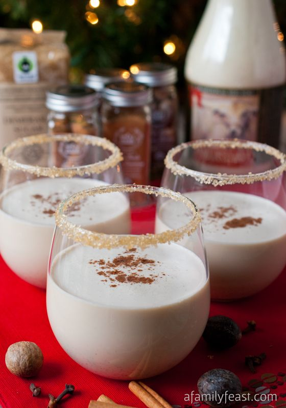 Spiced Eggnog Cocktail: Families Feast, Recipe, Holidays Treats, Eggnog Cocktails, Christmas, Sugar Rim, Spices Rum, Spices Eggnog, Demerara Sugar