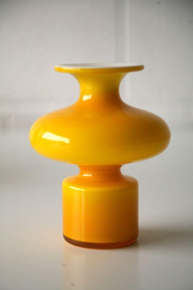 Vintage Retro 1960s Holmegaard Carnaby Hooped Glass Vase By Per Lutken