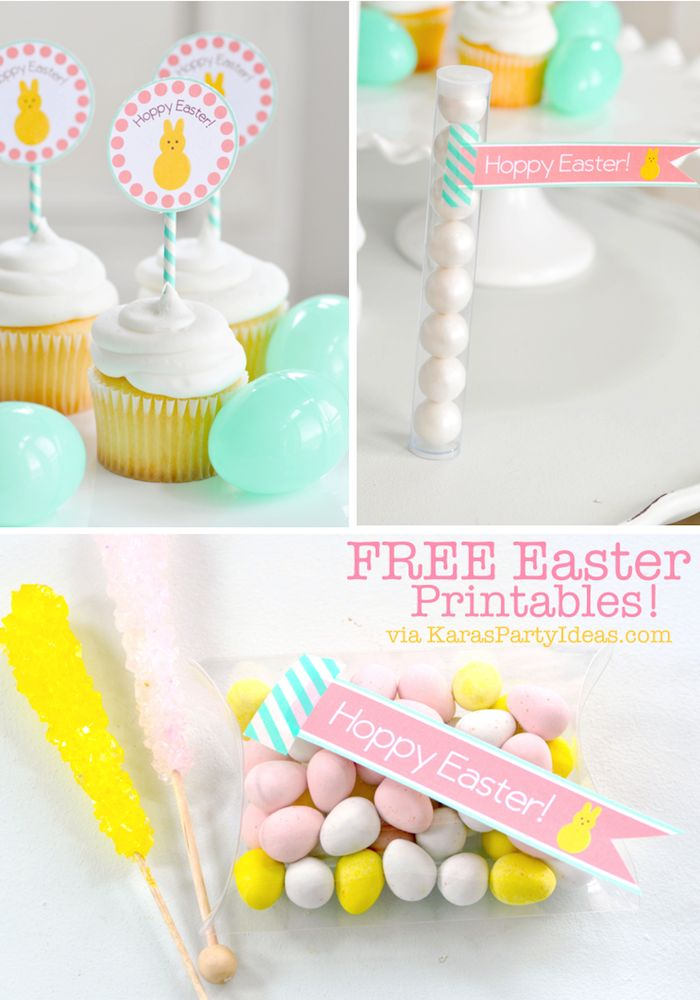 Free printable Easter tags and cupcake toppers from Kara's Party Ideas