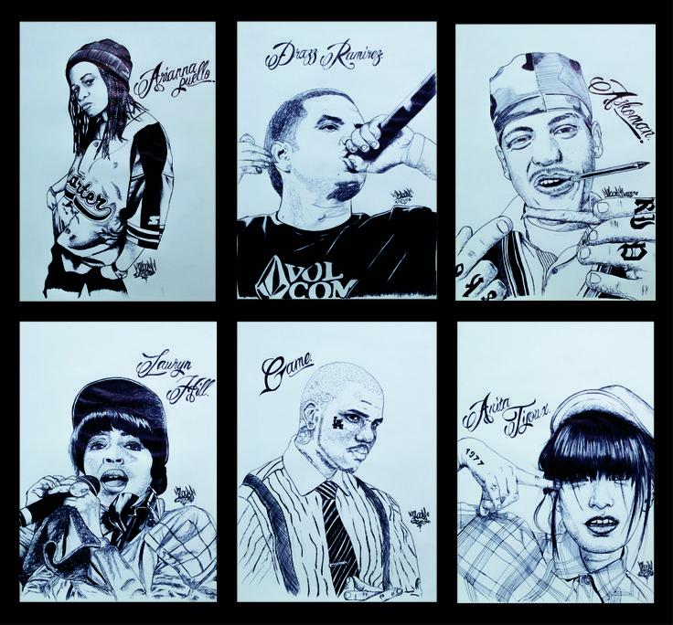 Ilustraciones sobre artistas de música rap hechas a lapicero negro. Tamaño: 25x35 cm cada uno. Técnica: Garabato