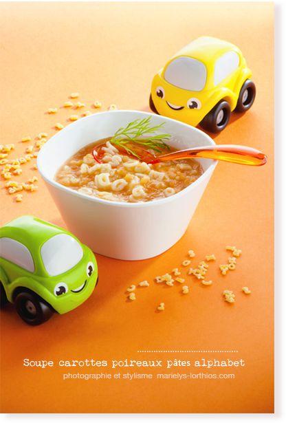 soupe carottes, poireaux, alphabets pour bébé 12 mois.
