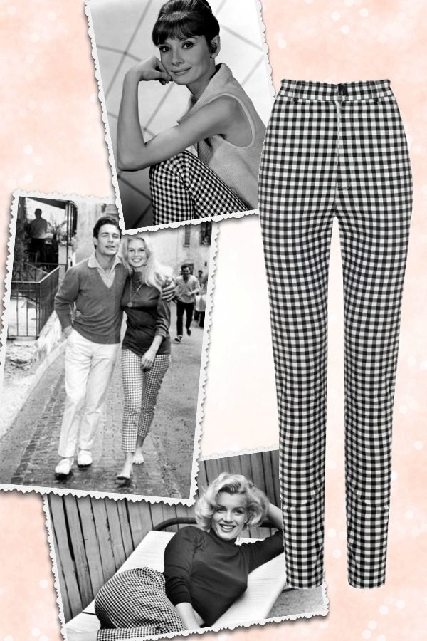 Gingha is sooooo Brigitte Bardot in style! But did you know Audrey Hepburn and Marilyn Monroe also wore them? Get your spring high waisted pants in black & white gingham at missretrochic.com - Retro, vintage & glamour online boutique!