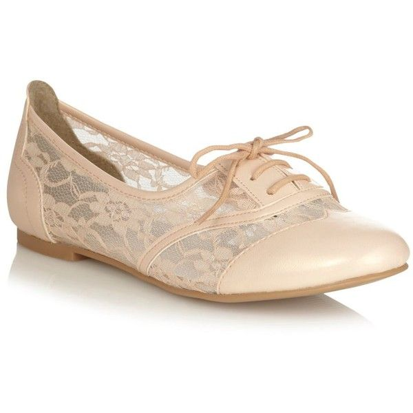 Pale Pink Leatherette Malaspina Brogue Shoes With Lace Insert ($47) ❤ liked on Polyvore