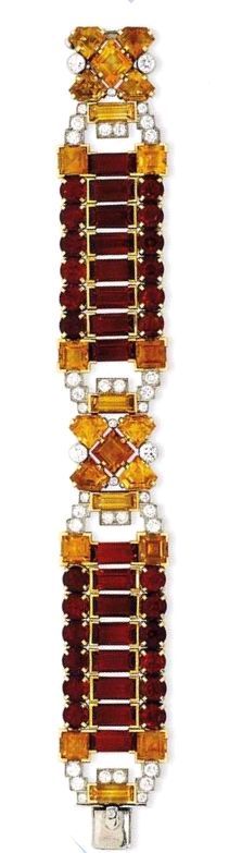 An Art Deco citrine and diamond Cartier London bracelet, circa 1935, that is part of Christie's Important Jewels sale.