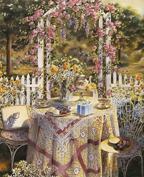"""""""Teatime is a meal for all seasons, suitable for all occasions."""" ~ ~ Art by Sandy Clough"""
