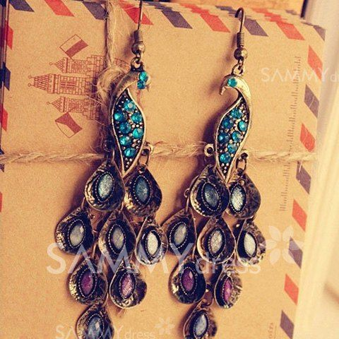 Pair of Delicate Retro Style Peafowl Shape Rhinestone Embellished Earrings   .........*Special deal for a permanent hair removal, check it out at www.depitime.us and use this code for a special deal: depitime20%off