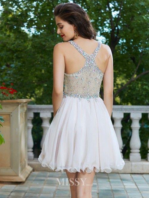 a6c9b3003b4122 A-Line Princess Straps Sleeveless Rhinestone Short Mini Chiffon Dresses