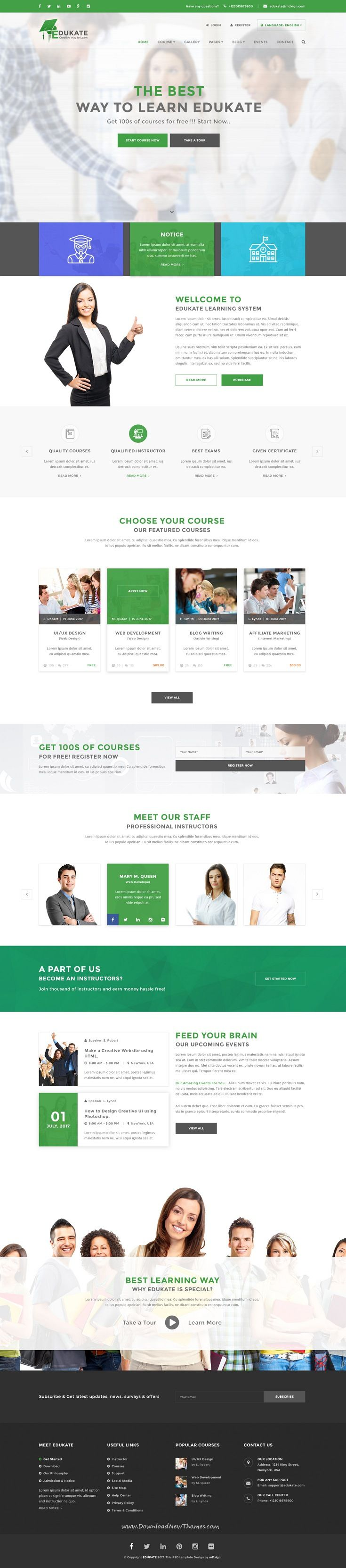 Edukate is clean and modern design PSD template for #college, online #course and LMS education website with 23 layered PSD pages to live preview & download click on Visit  #edtech