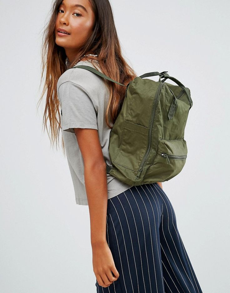 Image 3 ofPull&Bear Square Backpack With Top Handles In Khaki