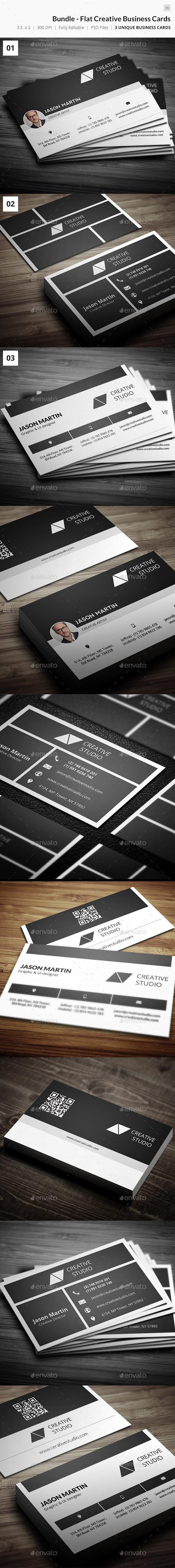 Bundle - Creative Flat Business Cards - 39 #template #creative #business