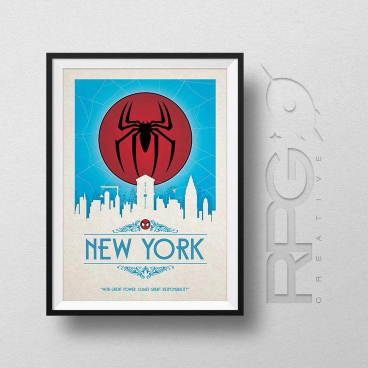 Spiderman Origin Print : New York - MARVEL by RPGCreative on Etsy https://www.etsy.com/listing/231442287/spiderman-origin-print-new-york-marvel