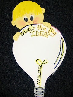 "main idea anchor poster... add who, what, where, why, how along the light bulb element underneath ""Main Idea."""