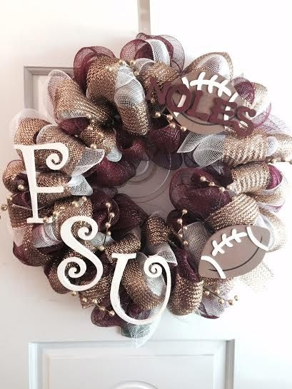 Sports Theme Wreath FSU Florida State University por mahyahyvee
