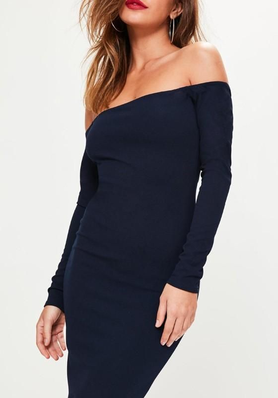 2c961894040ab LoverMalls Navy Blue Bandeau Backless Off Shoulder Mermaid Long Sleeve  Elegant Party Midi Dress #christmas