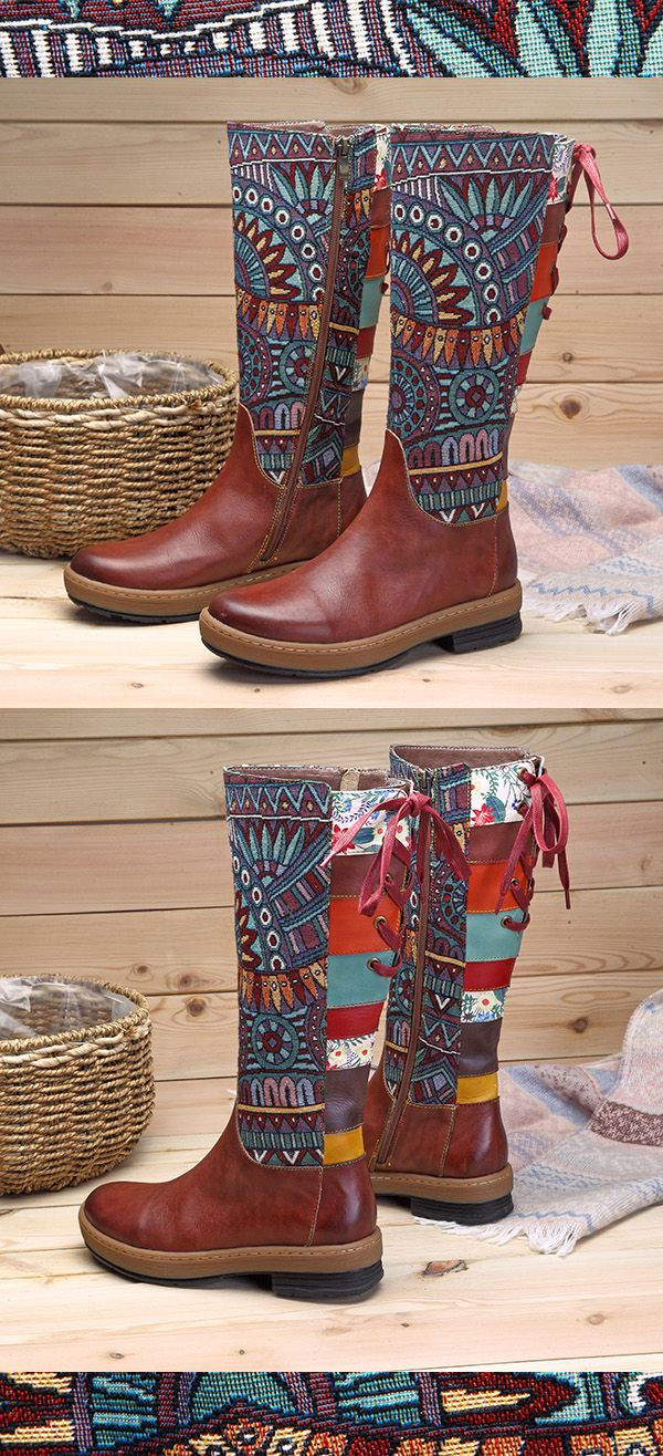US$68.63  SOCOFY Bohemian Splicing Pattern Flat Leather Knee Boots #KneeHighBoots #WinterBoots #BohoBoots