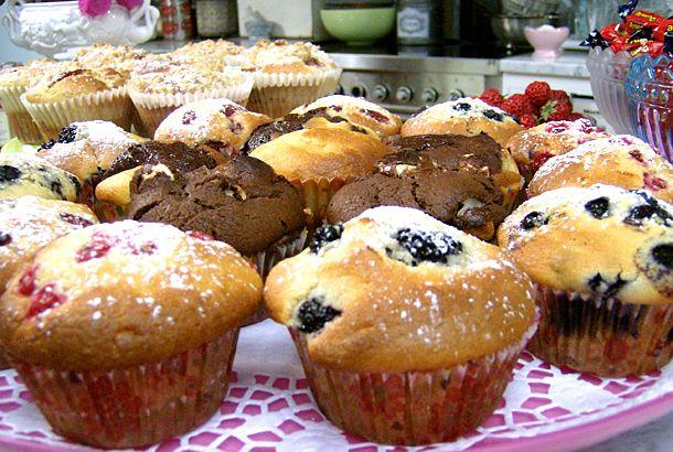 Leilas recept på goda blåbärsmuffins. Du kan använda frysta blåbär i dina muffins.