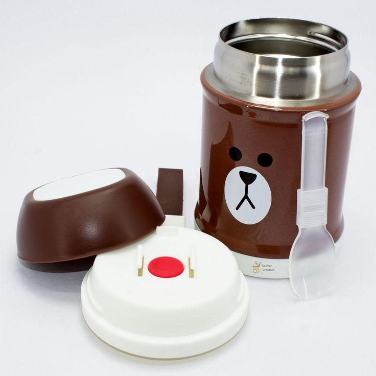 #Food Grade Stainless #Steel #Bear #Print #Thermos #Vacuum Food Jar with Folding #Spoon - K106 - #Brown - 400ML.   #Buy Here - http://amzn.to/2hkSD5f