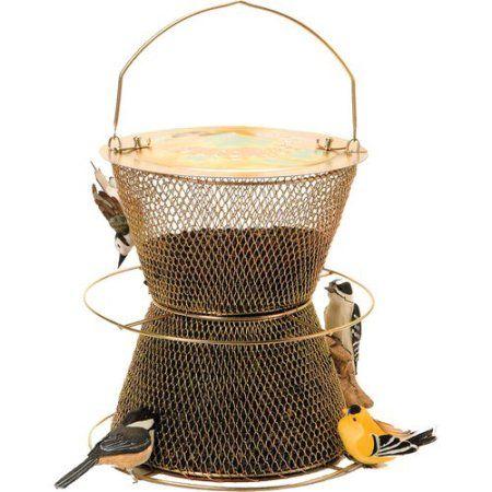 NO/NO Brass Hourglass Wild Bird Feeder, Gold