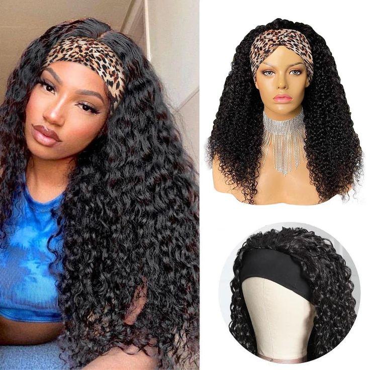 Curly Headband Wigs Deep Curl 100 Human Hair Wigs for