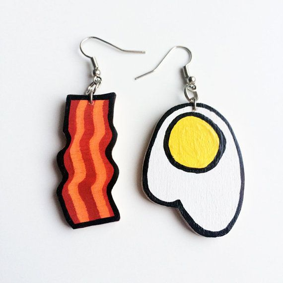 Bacon and Egg Earrings  Hand Painted Hand Sawed от WhattheNell