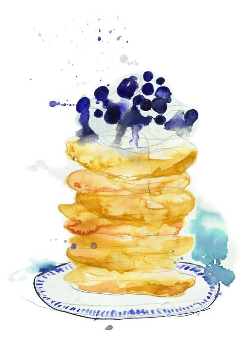 Klara Lilja  American Pancakes  August 2012  Pencil, watercolour and ink on paper