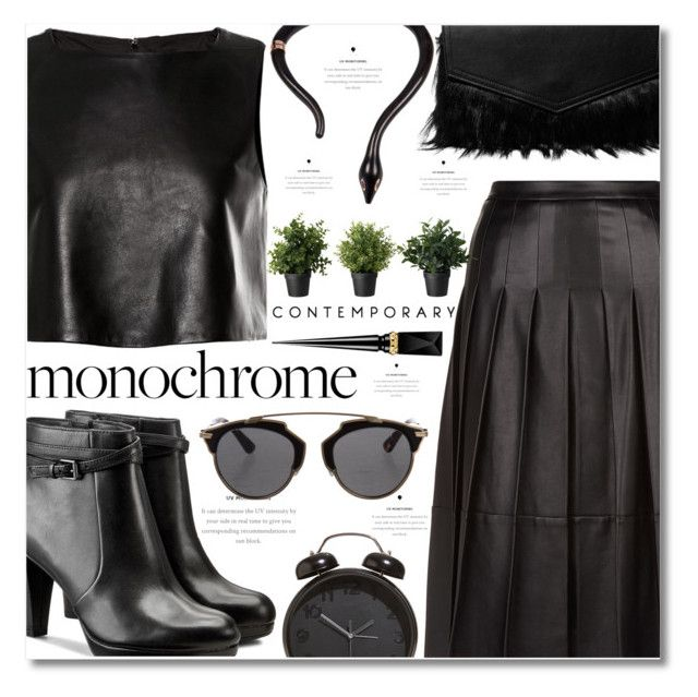 """""""Monochrome: All Black Everything"""" by deserii ❤ liked on Polyvore featuring TIBI, SET, Iris & Ink, Clarks, Christian Dior and Christian Louboutin"""