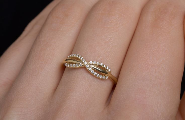Diamond Infinity Ring, Infinity Knot Ring, Solid Gold Wire Ring, Natural Diamonds, Engagement Gold Ring, Proposal Infinity Ring, Goldsmith Workshop, Custom Jewelry Manufacture, Danelian