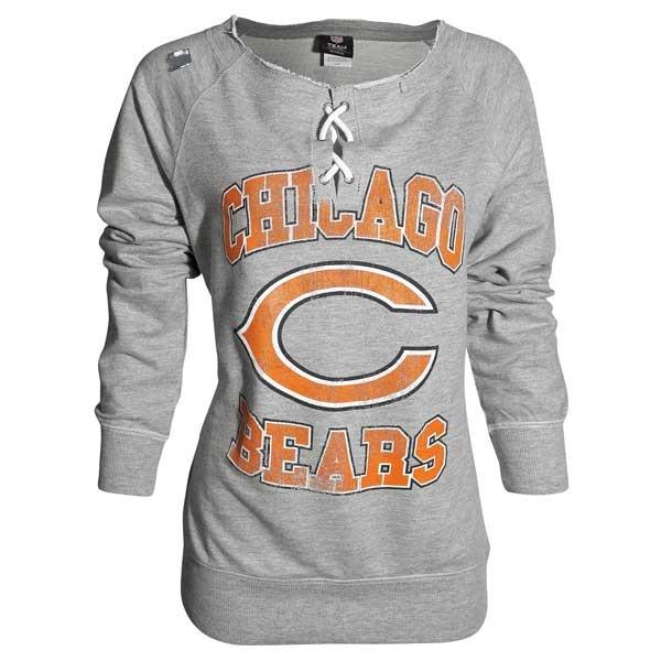 """Chicago Bears Women's Grey """"OT Queen"""" Crew-Neck Sweatshirt"""