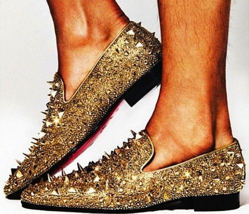 christian louboutin gold spiked shoes mens