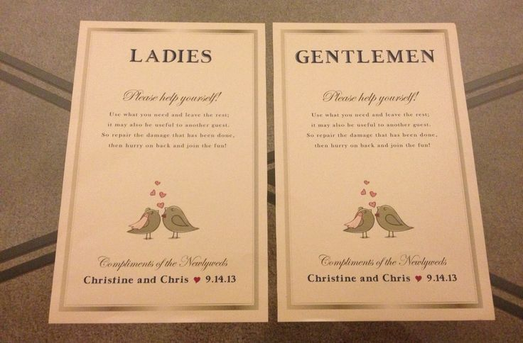 Our bathroom signs for our wedding to be placed with our for Amenity baskets for wedding bathrooms