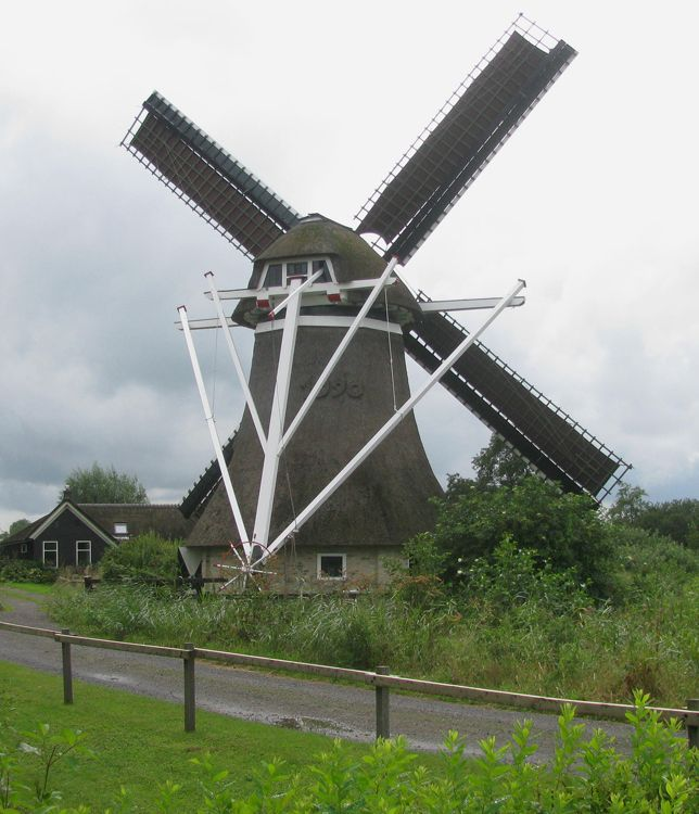 Polder mill Molen De Gooyer, Wolvega, The Netherlands