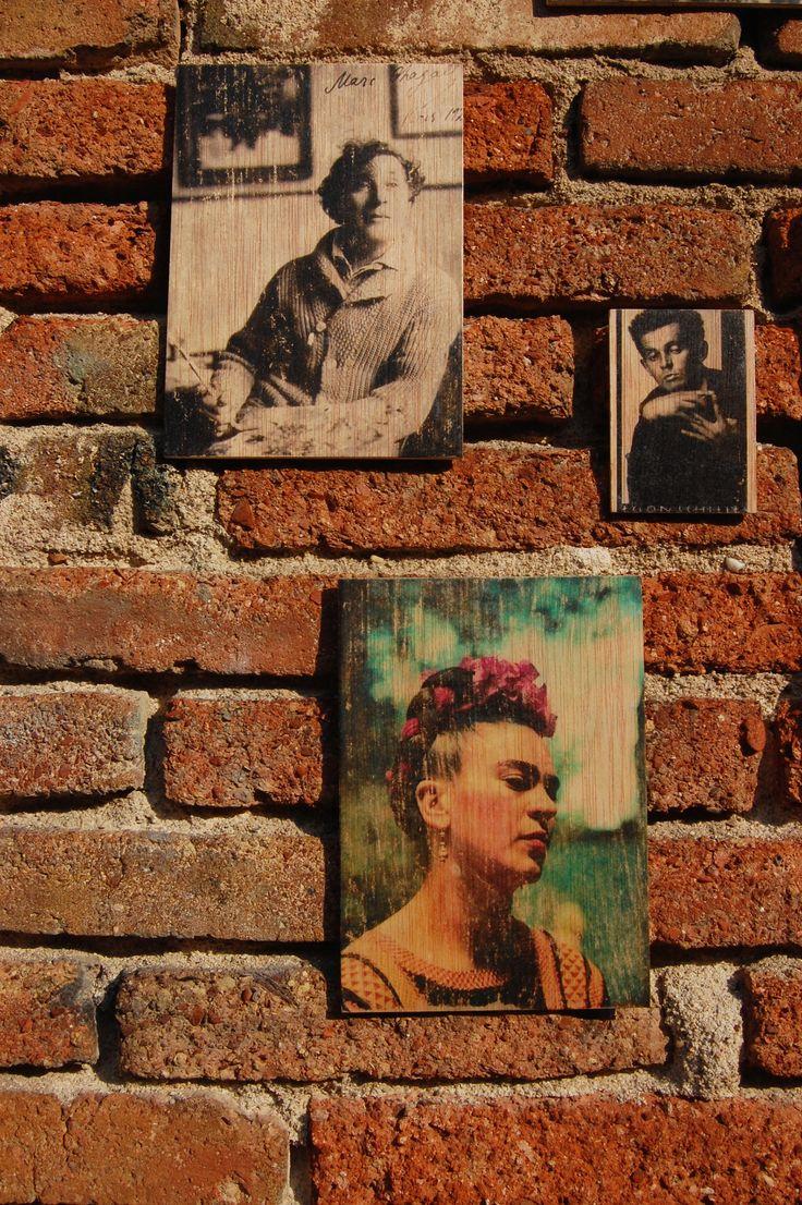 FRIDA KAHLO, MARC CHAGALL & EGON SCHIELE - Photo transfer on wood. Handmade.
