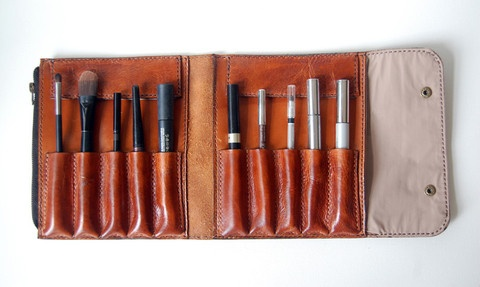 Leather make up accessory holder