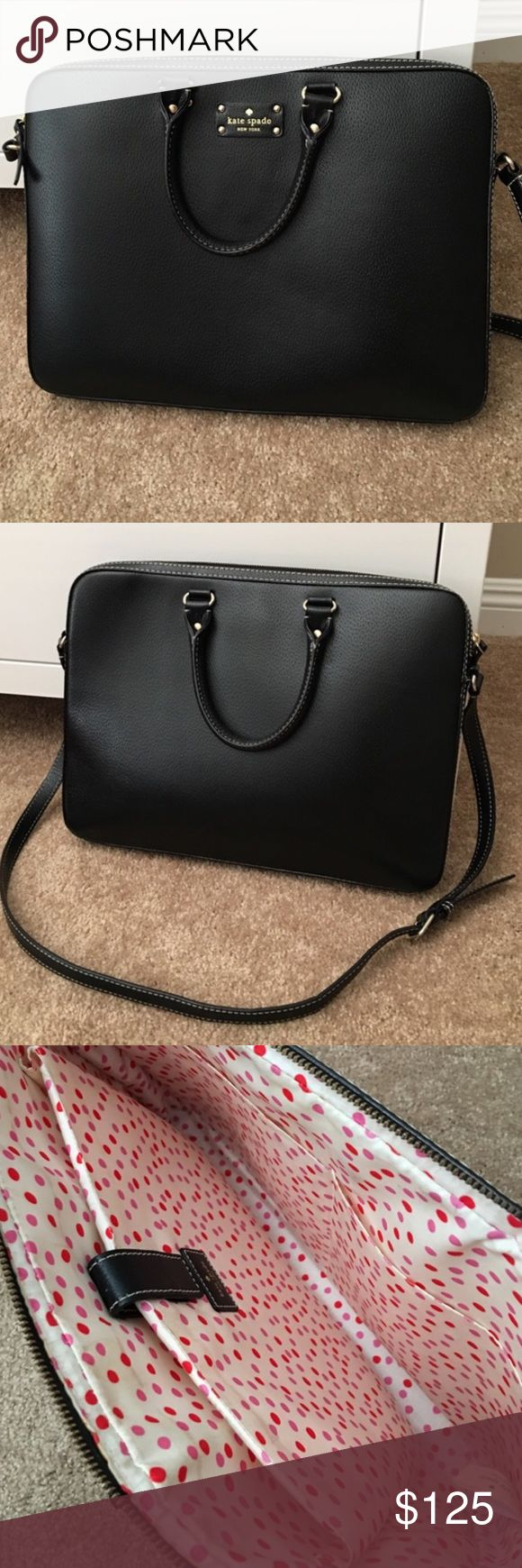 "Kate Spade Black Laptop Bag Like new! Used minimally. Minor stain on the inside (please see last picture). It fits my 15"" MacBook Pro. Also has a pocket inside. kate spade Bags Laptop Bags"
