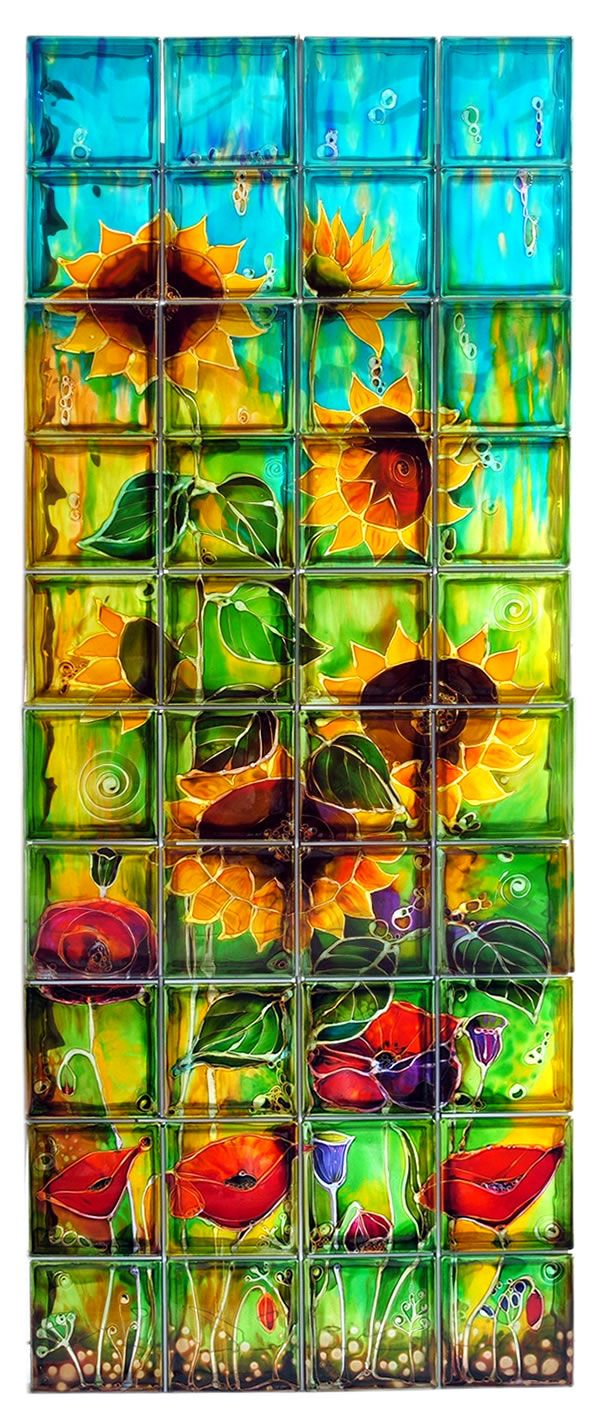 painted glass blocks Sunflowers 40