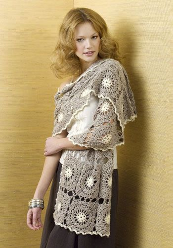 Bruges Lace Crochet ~  NaturallyCaron.com :: Vail Mountain Wrap