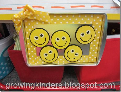 For working on a specific behavior, such as blurting - every time someone blurts, we lose a happy face (these are the chances) - still some left = whole class reward (marble jar, etc) This blog has GREAT ideas for primary classroom management!