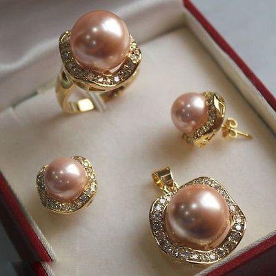Светло-розовый юг морские раковины жемчужные серьги кольцо ожерелья > AAA 18 К GP покрытием золото свадебные широкий часы крылья королева JEWE