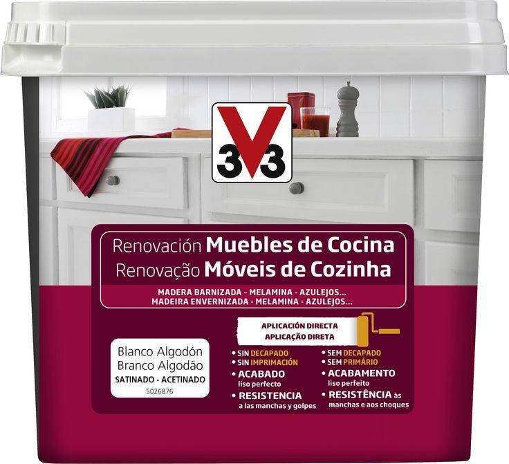 Esmalte Renovación Muebles de Cocina. Para renovar los muebles de madera barnizada, melamina y azulejos de la cocina. Resiste las manchas, grasa y calor.  http://www.v33.es/esmaltes-de-renovacion/renovacion-muebles-de-cocina,1224.html?&vars=cHJvZHVpdF9pZD0xMjAx