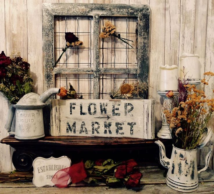 Rustic Country Flower Market Sign,Chicken Wire Picture Frame and Antique Tea Pot #Handmade #RusticPrimitive