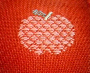 Kogin embroidery apple