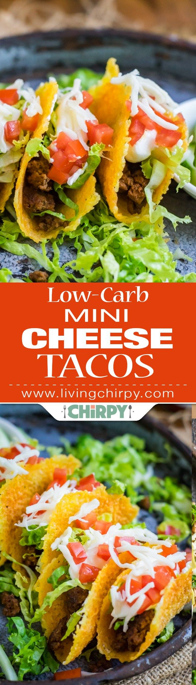 Low-Carb Mini Cheese Tacos - a low-carb taco shell made with melted cheese and filled with ground beef, lettuce, tomato and sour cream.