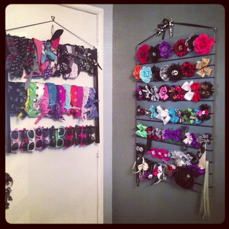 Hairbows and hair board made by my sister and bandana rack made by my boyfriend