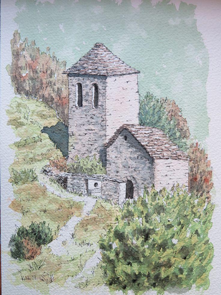 Ermita de Fajanillas. Pirineos Huesca Acuarela. Papel Arches 18 x 26. 300 gr.