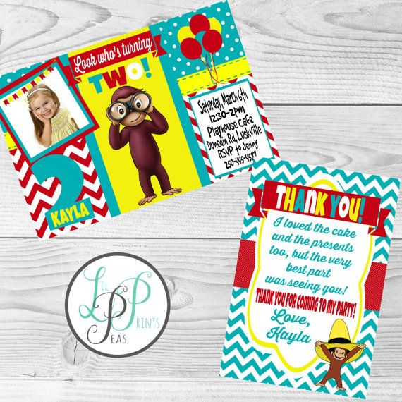 Check out this item in my Etsy shop https://www.etsy.com/ca/listing/269391378/curious-george-invitation-curious-george