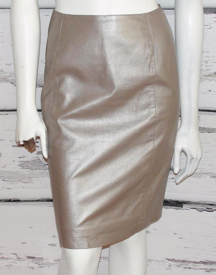 KAY UNGER~METALLIC~GENUINE SOFT LEATHER *HIGH-WAIST* VINTAGE PENCIL SKIRT~10 #KayUnger #HighWaistVintagePencilCocktailPartySkirt