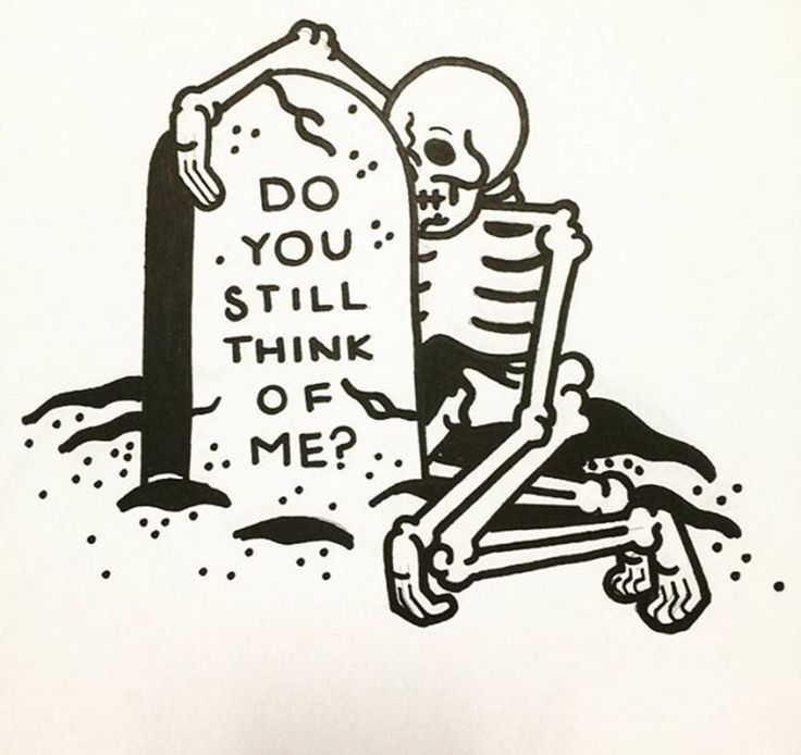 do you still think of me? skeleton grave tattoo